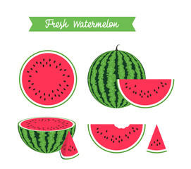 Set of fresh ripe watermelon and slices