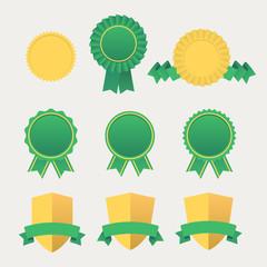 Heraldic emblem shields awards with ribbons