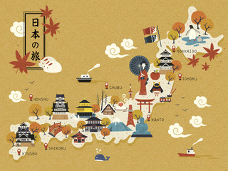 Japanese travel map