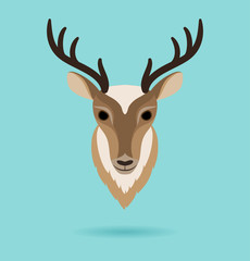 Deer head on turquoise background.
