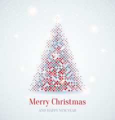 Festive card with Christmas tree. Design elements for holiday ca