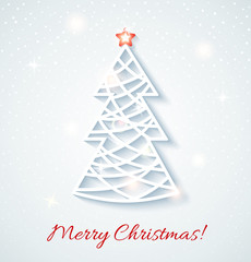 Festive card with Christmas tree.