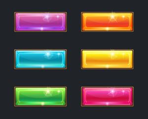 Set of cartoon long crystal horizontal buttons
