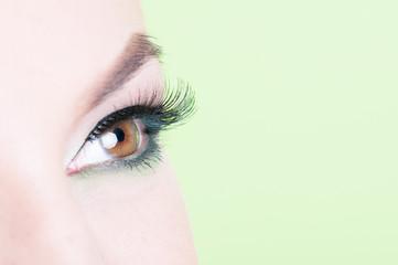 Macro shot of woman eye with lash extension