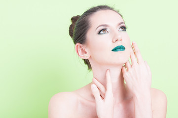 Portrait of woman posing with trendy professional make-up