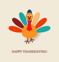 Cute colorful cartoon of turkey bird for Happy Thanksgiving cele
