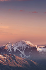 Poster Salmon High mountain in morning time. Beautiful natural landscape.
