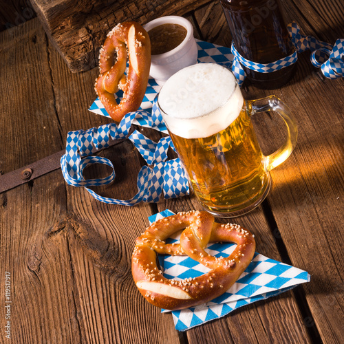 """oktoberfest pretzel and beer"" Stock photo and royalty ..."