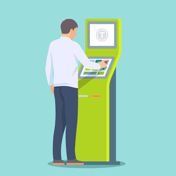 Man using self-service terminal. Vector illustration