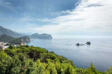 Beautiful panoramic green forests with blue sea and sky