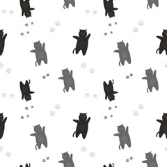 The pattern of black and gray cats with traces of feet. On a white background