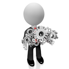 3D businessman, gears concept