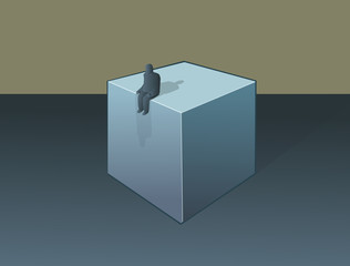 a lonely figure sitting on a cube. Vector illustration