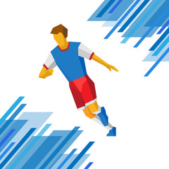 Football player in red and blue colors. Soccer clip art.