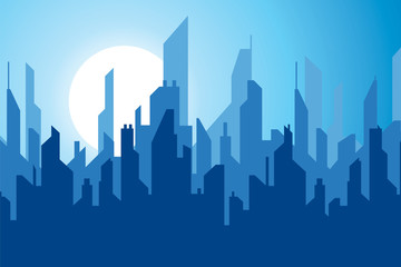 Night city in flat style, modern town, towers and skyscrapers, urban skyline, vector design