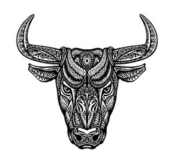 Bull, taurus, buffalo painted tribal ethnic ornament. Vector illustration