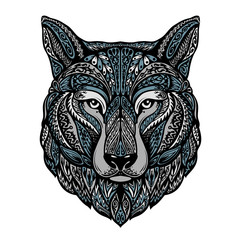 Ethnic ornamented wolf or dog. Vector illustration