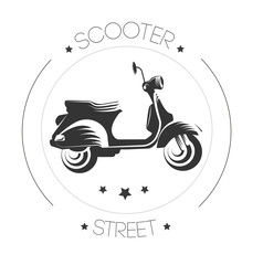 Vector classic scooter emblems, icons and badges.
