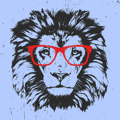 Portrait of Lion with glasses. Hand-drawn illustration. T-shirt design. Vector
