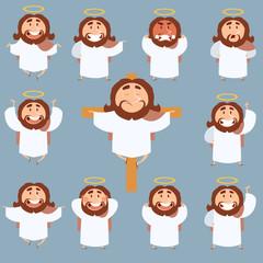 Set of Jesus flat icons