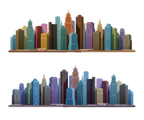 City skyline with skyscrapers. Construction, building icons