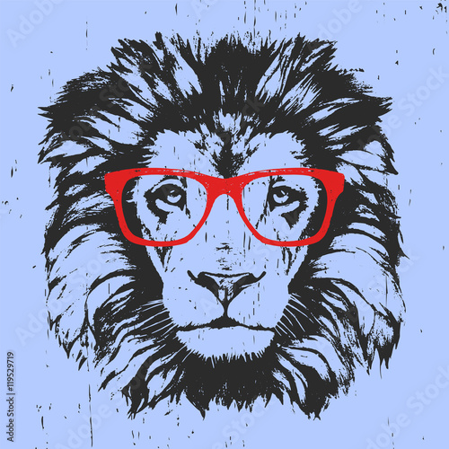 portrait of lion with glasses hand drawn illustration t shirt design vector stock image and. Black Bedroom Furniture Sets. Home Design Ideas