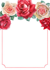Watercolor illustrations of a rose flowers. Perfect for greeting
