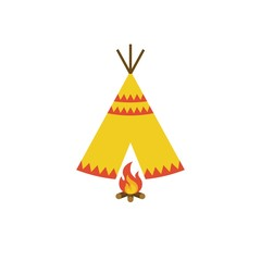 Teepee tent of native American and bonfire with firewood icon illustration vector, flat design