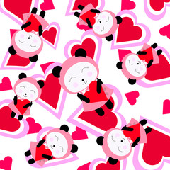 Valentine illustration with cute [ink panda background suitable for wrapping paper and wallpaper
