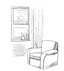 Room interior sketch. Hand drawn chair