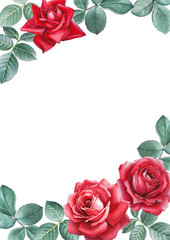 Watercolor illustrations of rose flowers. Perfect for greeting c