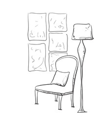 Room interior sketch. Hand drawn chair