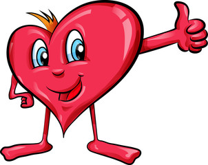 heart cartoon with  thumbs up