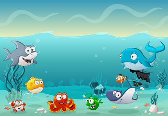 Cartoon fish under the sea. Underwater world with corals.