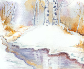 winter landscape with river, birch trees and snow. hand painted illustration