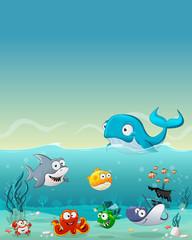 Keuken foto achterwand Onderzeeer Cartoon fish under the sea. Underwater world with corals.