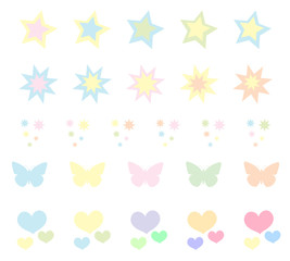 Set of cute pastel stickers, brushes. Heart star. Vector illustration