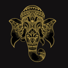 Hand drawn elephant head tribal style. Hindu Lord Ganesha vector