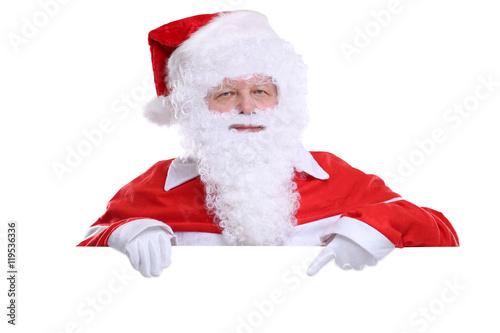 weihnachtsmann nikolaus weihnachten zeigen leeres schild. Black Bedroom Furniture Sets. Home Design Ideas