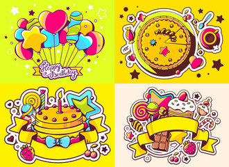 Vector creative colorful set of birthday illustration with ballo