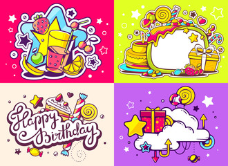 Vector creative colorful set of birthday illustration with gift
