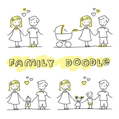 Family hand drawn stick figures on white background. Stylish modern flat vector illustration and design element.