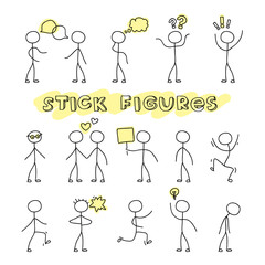 Hand drawn stick figures on white background. Stylish modern flat vector illustration and design element.
