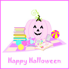 Halloween illustration with cute pink jack o lantern suitable for Halloween greeting card