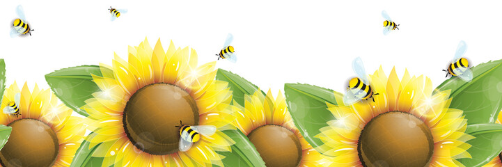 Horizontal seamless pattern - Beautiful sunflowers, green leaves and flying bees isolated on white