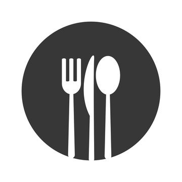 cutlery fork knife spoon menu food restaurant tool instrument icon. Flat and isolated design. Vector illustration
