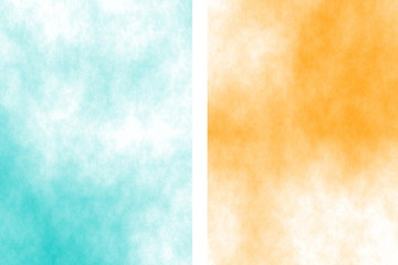 Illustration of a cyan and orange divided white smoky background