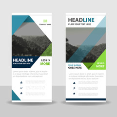 Green Blue Abstract triangle Business Roll Up Banner flat design template ,Abstract Geometric banner template Vector illustration set, abstract presentation template