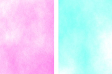 Illustration of a pink and cyan divided white smoky background