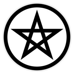 Pentagram button on white.
